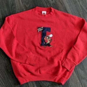 Vintage 90's Looney Tunes Taz Red Sweatshirt Large